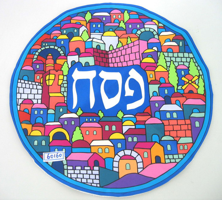 Round Silk Passover Matzah Cover